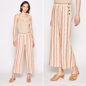JOIE Pants Ardina Crop Wide Leg Linen Stripe Sun